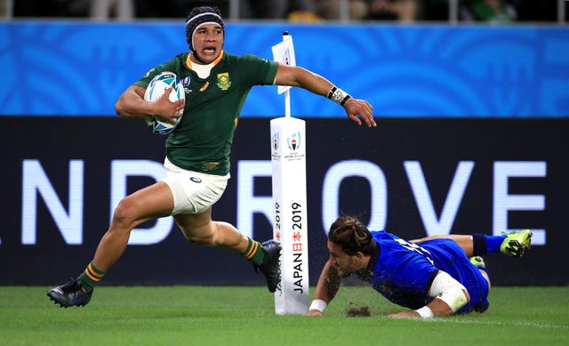 South Africa wing Cheslin Kolbe (left) will miss the World Cup semi-final with an ankle injury