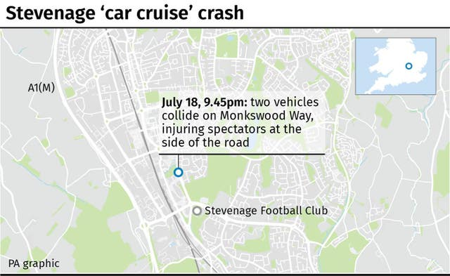 Map locates car crash in Stevenage