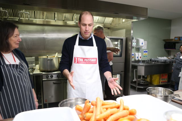 The Duke of Cambridge joins volunteers at homelessness charity The Passage in central London