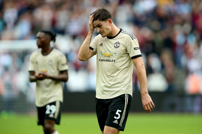 Manchester United slumped to a 2-0 defeat at West Ham on Sunday, leaving Harry Maguire (pictured) to look somewhat dejected