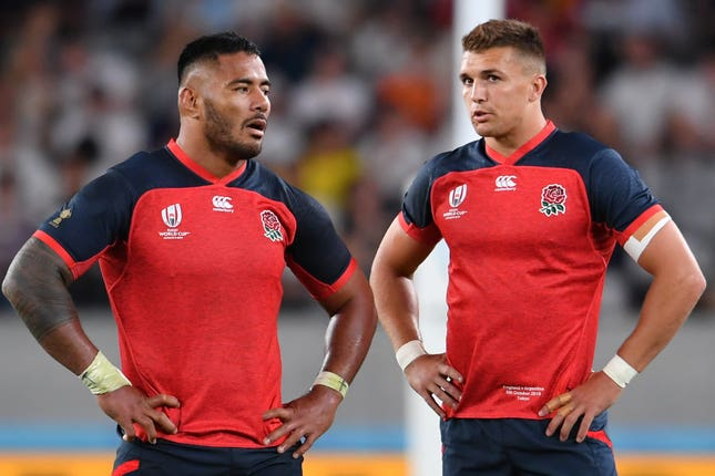 Henry Slade, right, will partner Manu Tuilagi in the centres against Australia