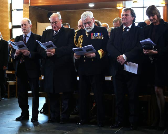 Major General Julian Thompson, Admiral Sir James Perowne, Surgeon Vice Admiral Alasdair Walker and Argentinian ambassador Senator Renato Carlos Sersale di Cerisamo attending Surgeon Captain Rick Jolly's funeral service at HMS Raleigh in Torpoint, Cornwall (LPhot Ken Gaunt/Royal Navy/MoD/Crown copyright/PA)
