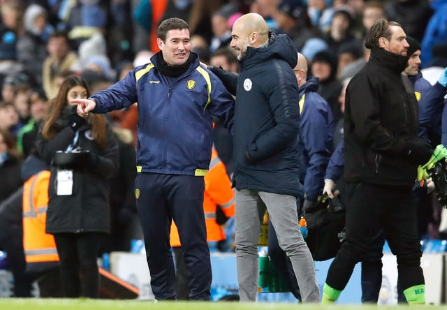Nigel Clough (left) felt there was no disgrace in losing heavily to City