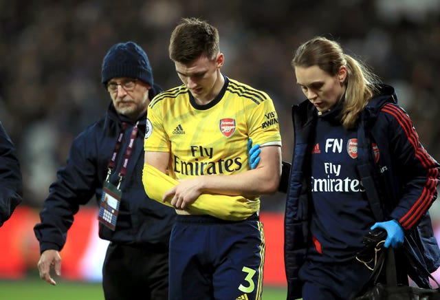 Kieran Tierney hurt his arm in  early December