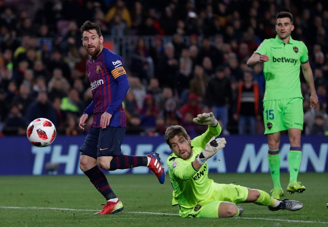 Lionel Messi scored his 49th Copa Del Rey goal during the win over Levante
