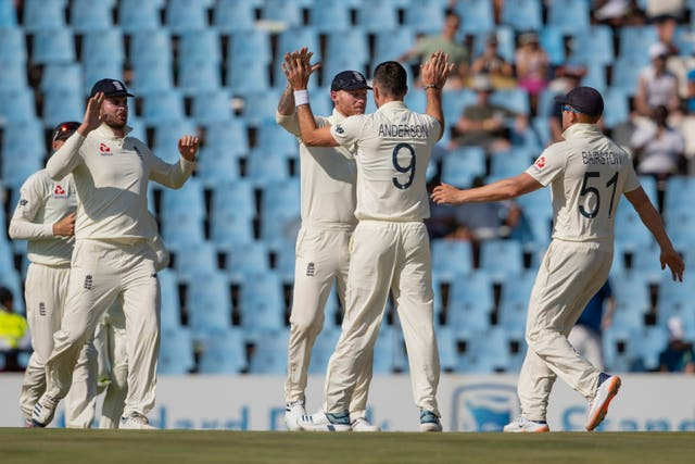 James Anderson, centre, celebrates the wicket of South Africa's Aiden Markram on the way to his record 28th five-wicket haul for England