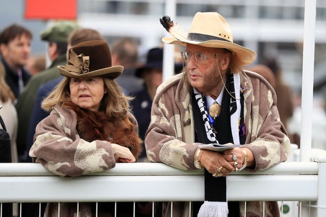 John McCririck and wife Jenny at Cheltenham