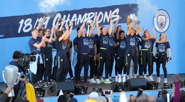 Manchester City Women joined the men's team for their end-of-season trophy parade