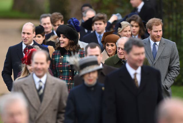 The Duke and Duchess of Cambridge, Duke and Duchess of Sussex and other members of the royal family attending last year's Christmas Day service at a church on the Queen's Sandringham estate. Joe Giddens/PA Wire