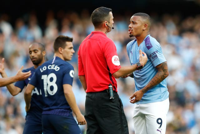 Gabriel Jesus remonstrates with referee Michael Oliver after his goal is disallowed