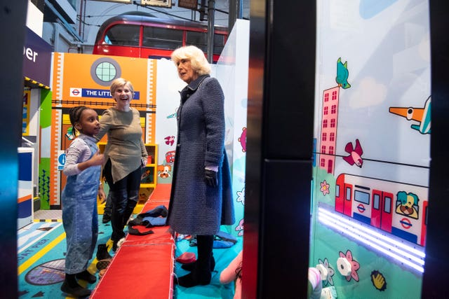 The Duchess of Cornwall during a visit to the London Transport Museum
