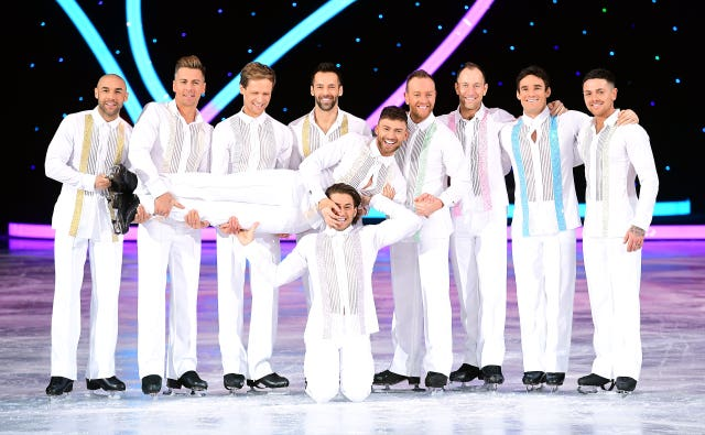 Celebrities and professional skaters (left to right) Alex Beresford, Matt Evers, Mark Hanretty, Sylvain Longchambon, Jake Quickenden (front), Kem Cetinay, Dan Whiston, Lukasz Rozycki, Max Evans, and Ray Quinn during the Dancing On Ice Live UK Tour launch photocall (Ian West/PA)