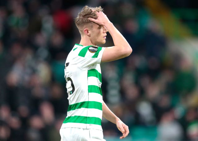 Kristoffer Ajer appears dejected after missing an easy chance