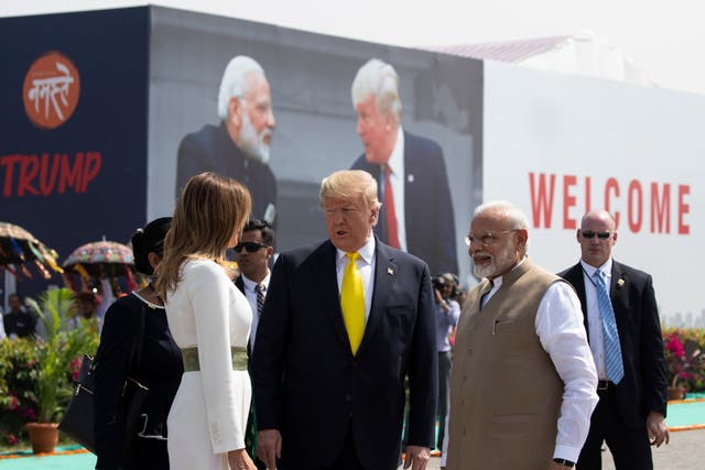 Donald Trump arrived in  Ahmedabad with first lady Melania Trump