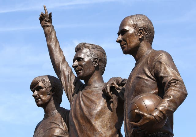 The United Trinity statue, featuring George Best, Denis Law and Sir Bobby Charlton, l-r