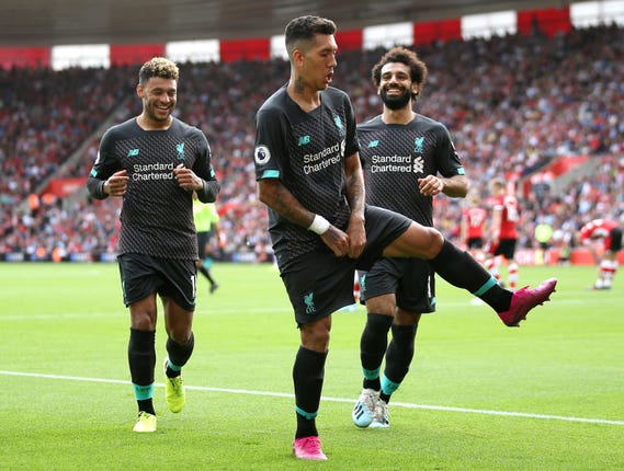 Roberto Firmino, centre, was the match-winner for Liverpool at Southampton