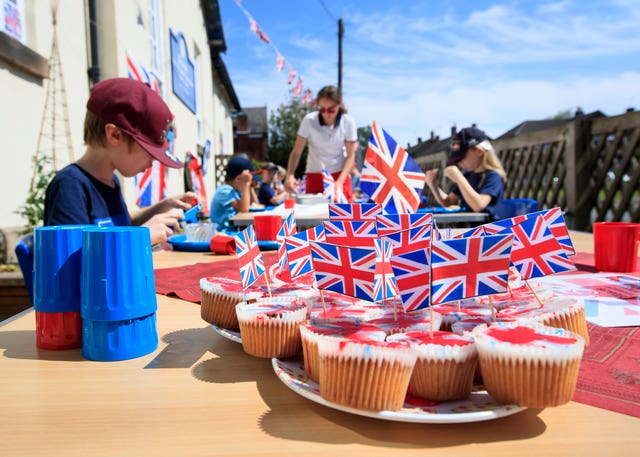 Children from Breadsall Primary School in Derby held a VE Day lunch party on Thursday
