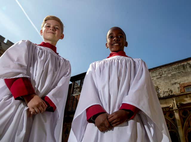 Leo Mills (left), aged 11 and Nathan Mcharo, aged 9, will sing for Harry and Meghan at the royal wedding (Steve Parsons/PA)