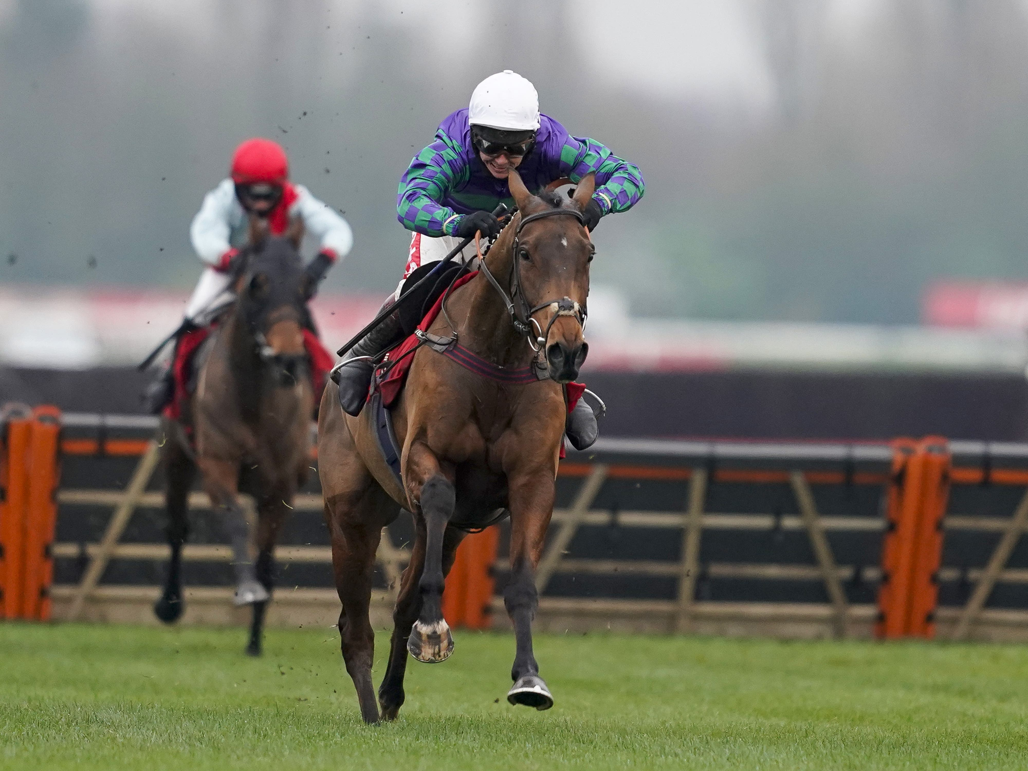 Thyme Hill and Richard Johnson landed the Long Distance Hurdle (Alan Crowhurst/PA)