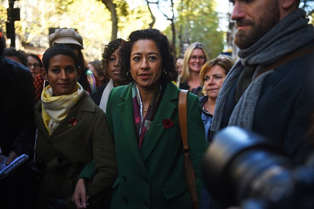 Samira Ahmed, centre, and Naga Munchetty, centre left, arrive at the Central London Employment Tribunal