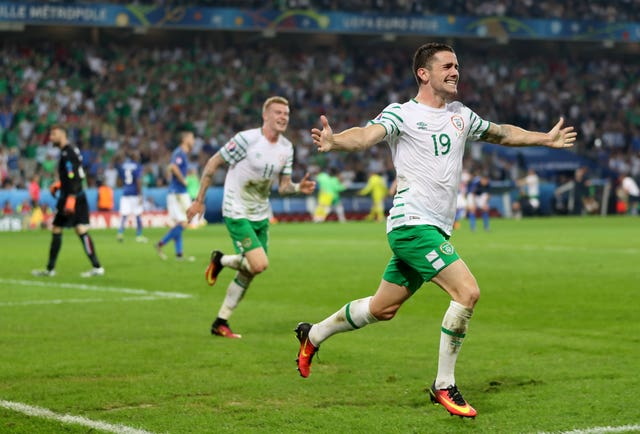 Robbie Brady celebrates after scoring The Republic of Ireland's winner against Italy at Euro 2016