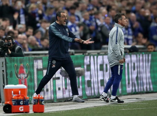 Maurizio Sarri reacts to Kepa Arrizabalaga refusing to come off