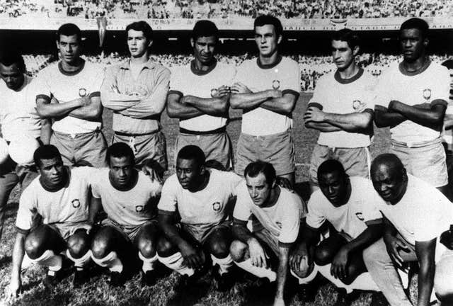 A line up of the 1970 Brazil team: Standing left to right: Carlos, Alberto, Leao, Brito, Fontana, Piazza, Marcos and Antonio. Below : Jairzinho, Direfu, Lopez, Pele, Gerson and Edu