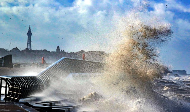 Waves crash on to seafront