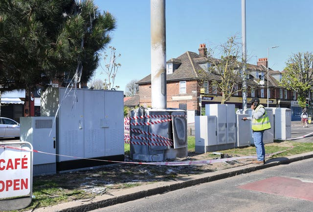 A telecoms mast on Becontree Avenue in Dagenham after a fire