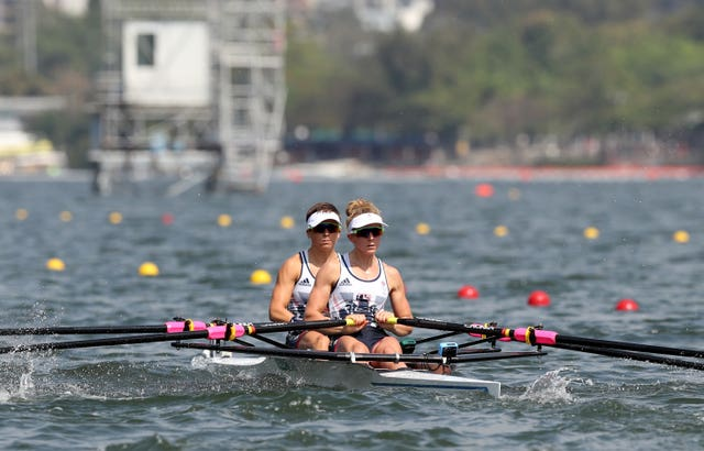 Great Britain's Charlotte Taylor and Katherine Copeland compete in the Lightweight Women's Double Sculls Repechage on the fourth day of the Rio Olympic Games in Brazil