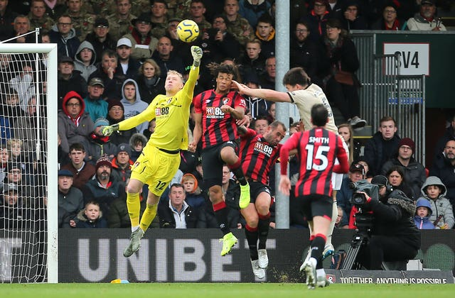 Bournemouth goalkeeper Aaron Ramsdale in action at the Vitality Stadium