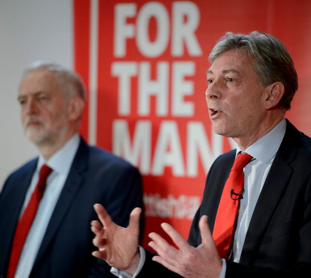 Scottish Labour leader Richard Leonard with UK Labour leader Jeremy Corbyn (John Linton/PA)