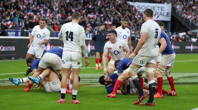France's Charles Ollivon dives in to score his side's third try