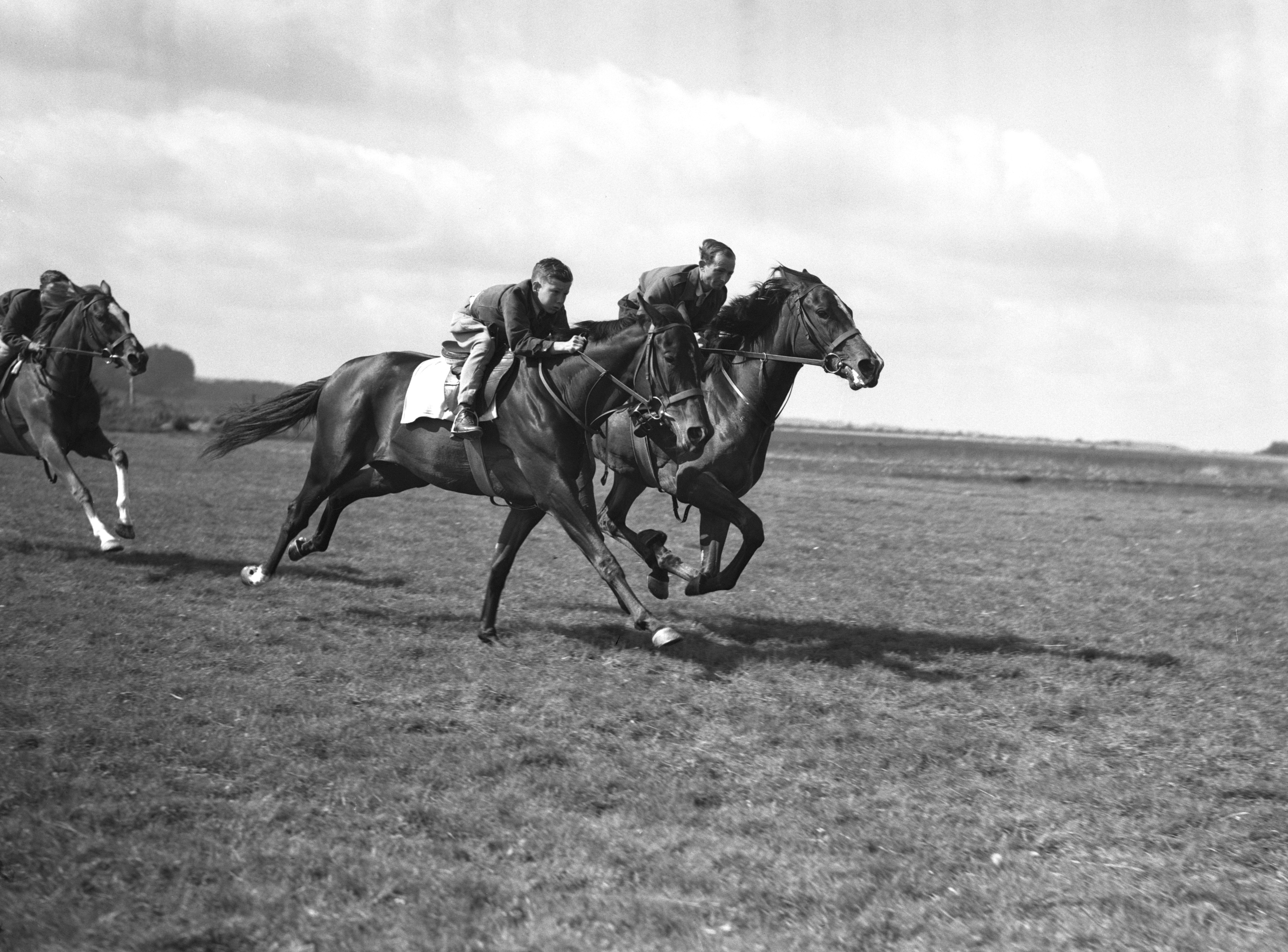 Lester Piggott in action as a 12-year-old at his father Keith's stables in Lambourn