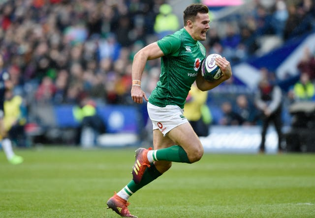 Jacob Stockade scored Ireland's second try after a Scottish slip up in defence