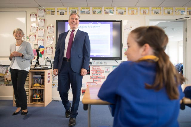 Labour leader Sir Keir Starmer and shadow education secretary Kate Green will visit a school in east London on Monday