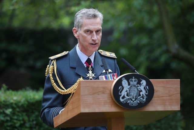 Air Chief Marshal Sir Stephen Hillier speaks at the Downing Street event (Jonathan Brady/PA)