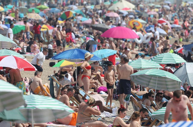 Busy scenes at Southend beach in Essex