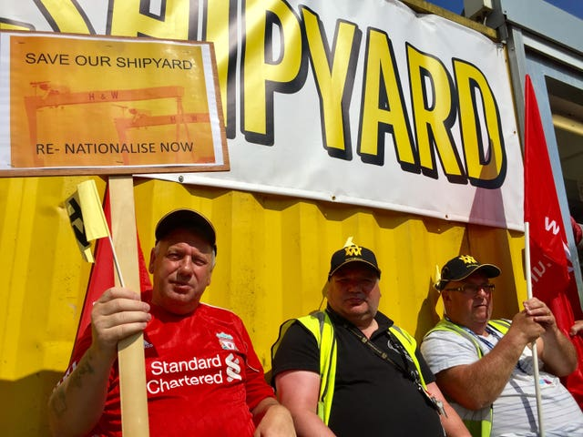 A rally at the Harland and Wolff shipyard