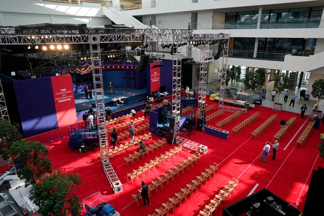 Preparations take place for the first presidential debate in the Sheila and Eric Samson Pavilion in Cleveland