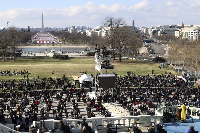 National youth poet laureate Amanda Gorman speaks at the inauguration of US President Joe Biden on the West Front of the US Capitol in Washington