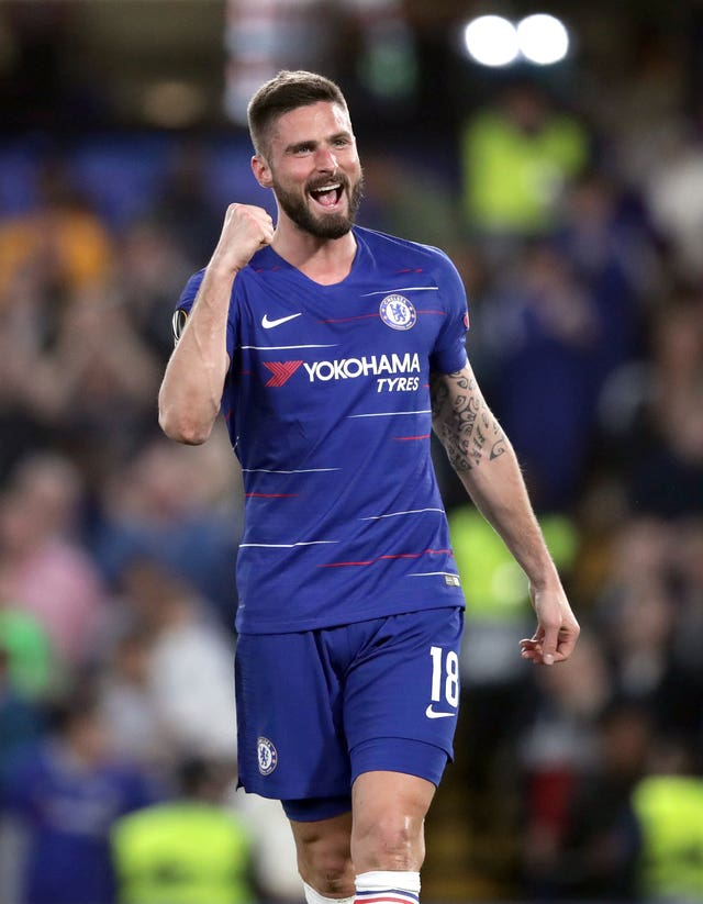 Olivier Giroud celebrates his 10th goal in the competition this season