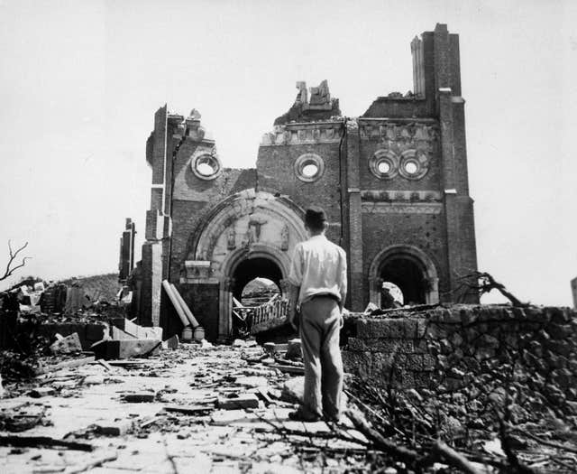 The Urakami Catholic Cathedral in Nagasaki, Japan, in the aftermath of the detonation of the atom bomb