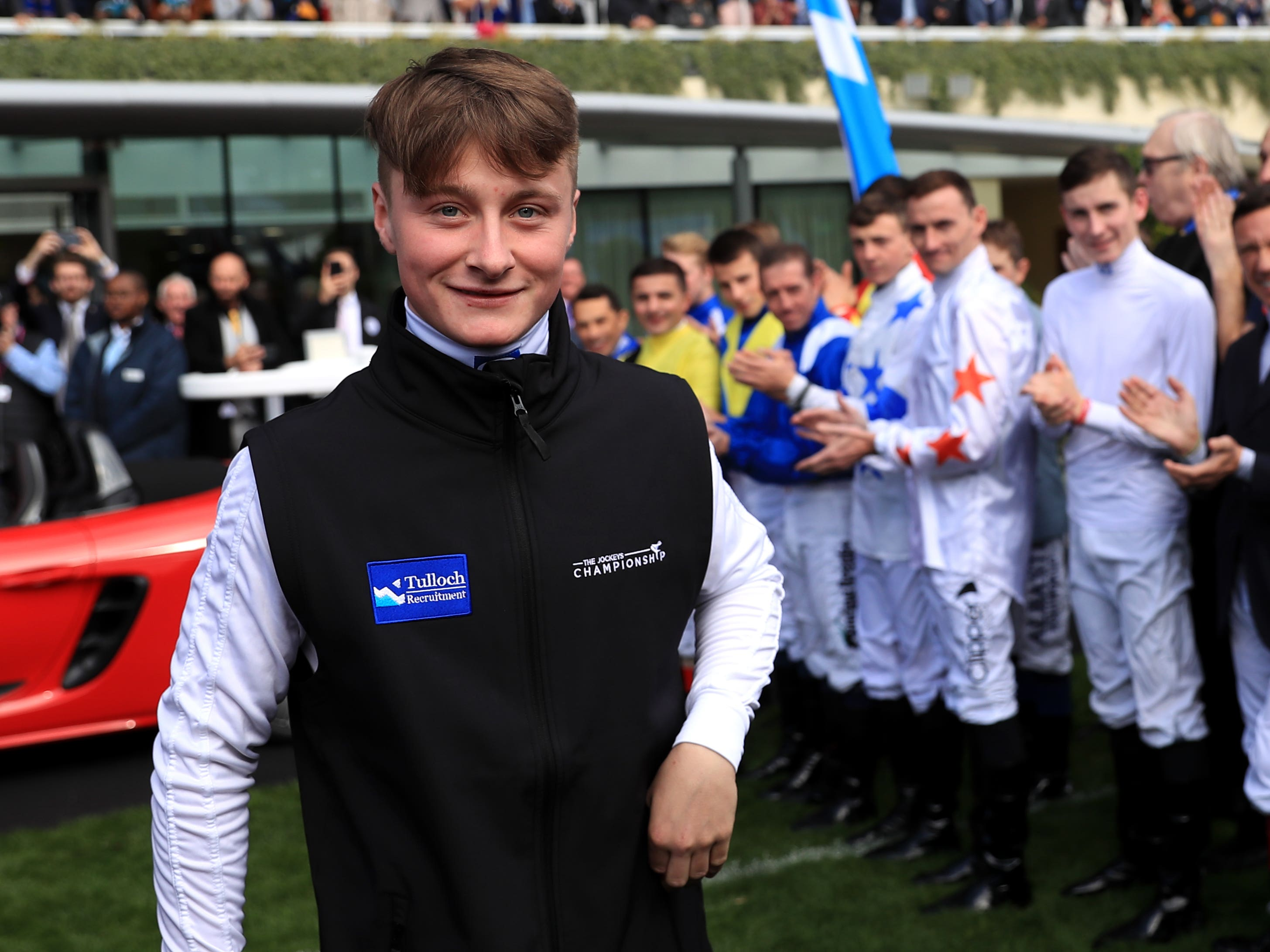 Cieren Fallon is congratulated by fellow jockeys after being crowned champion apprentice (Simon Cooper/PA)