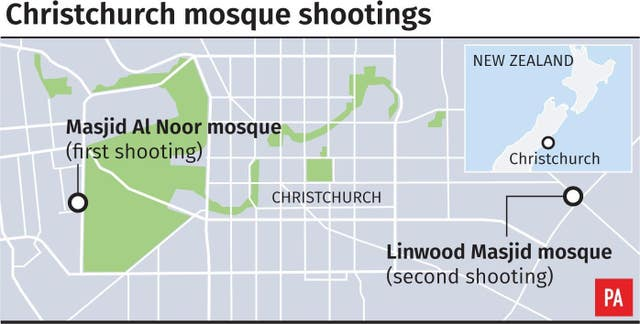 Locates mosque shootings in Christchurch, New Zealand