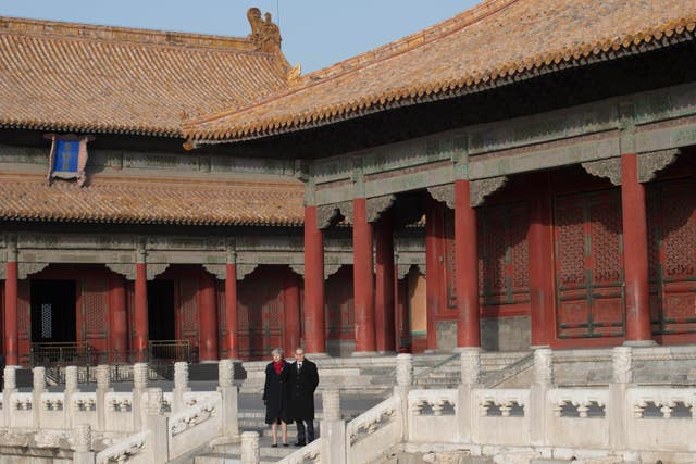 Theresa May and her husband Philip visit the Forbidden City