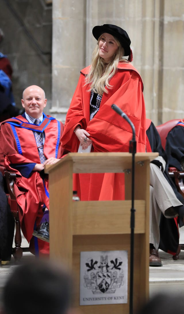 Ellie Goulding before receiving an honorary Doctor of Arts degree from the University of Kent