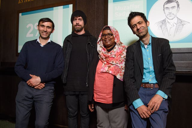 Jack Dorsey, second left, with members of the Entrepreneurial Refugee Network Muzaffar Sadykov, Naglaa Sadik, and Usman Khalidto