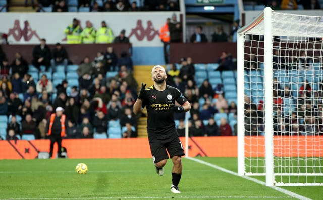 Aguero celebrates scoring the third goal of his hat-trick during Manchester City's 6-1 defeat of Aston Villa