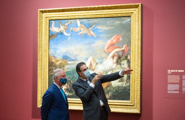 The Prince of Wales and National Gallery director Dr Gabriele Finaldiis in front of The Rape of Europa by Titian